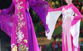 Áo dài cưới màu tím 02