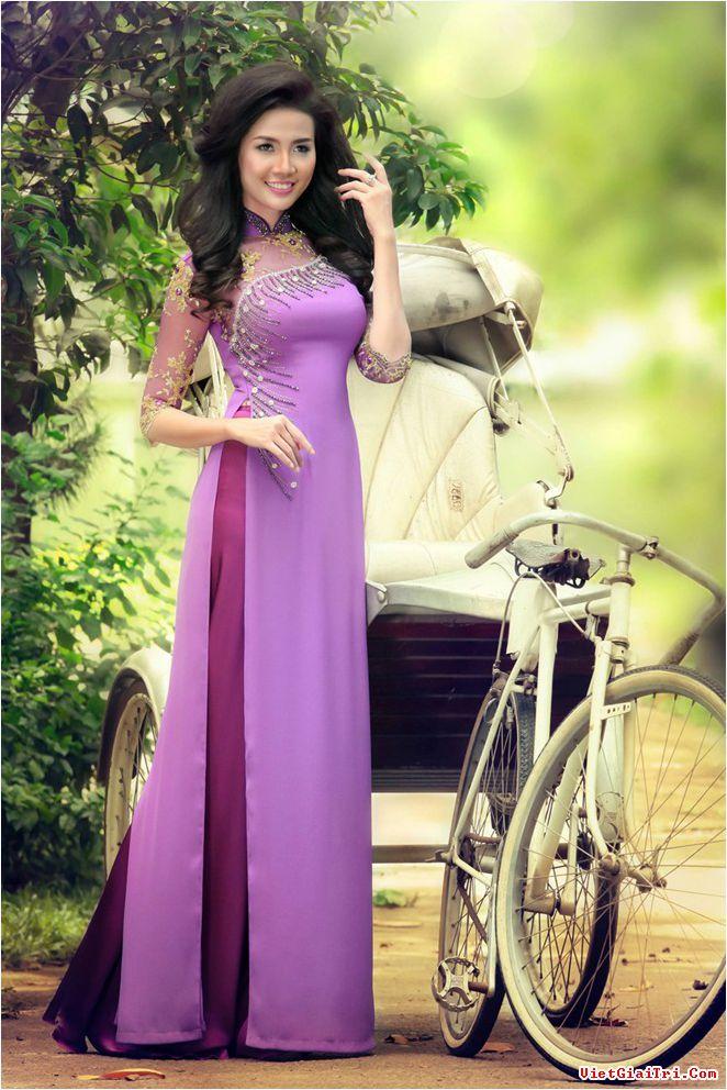 Áo dài cưới màu tím 03