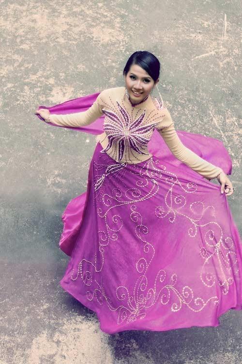 Áo dài cưới màu tím 09