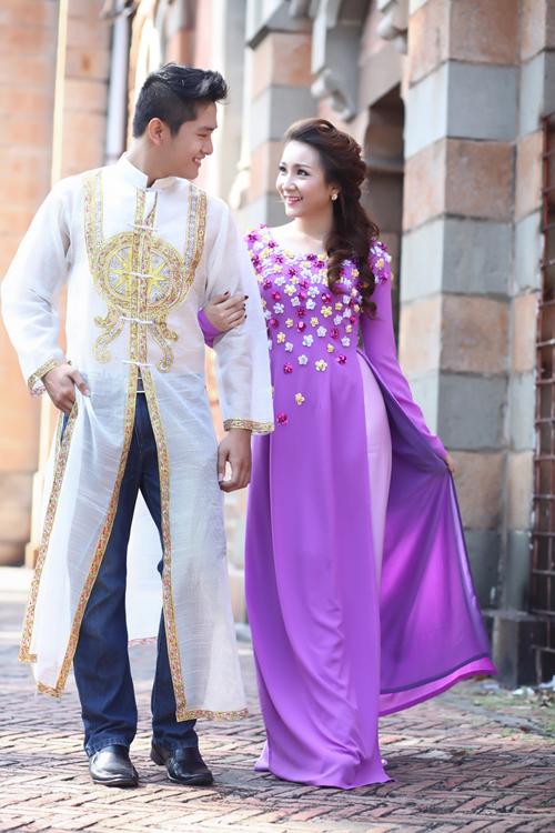 Áo dài cưới màu tím 10