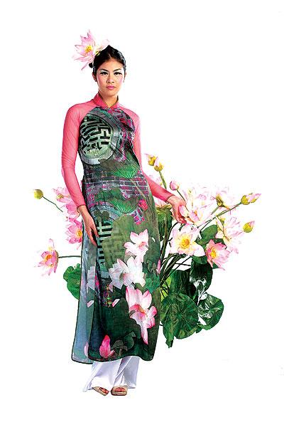 Áo dài cưới họa tiết hoa sen đẹp 06
