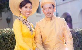Áo dài cưới màu vàng 06
