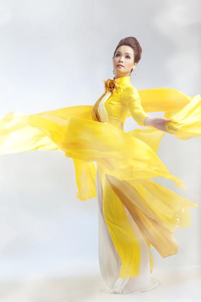 Áo dài cưới màu vàng 09