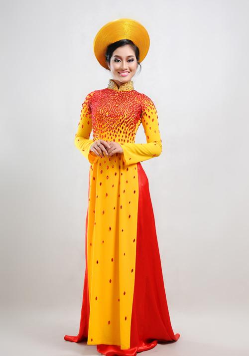 Áo dài cưới màu vàng 02