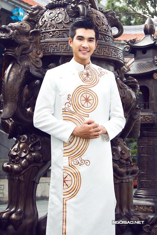 Áo dài chú rể trắng 01