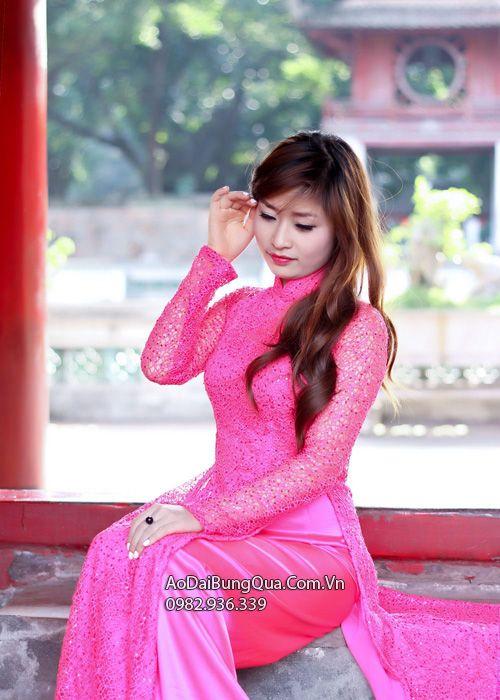 Áo dài cô dâu hồng sen kim sa