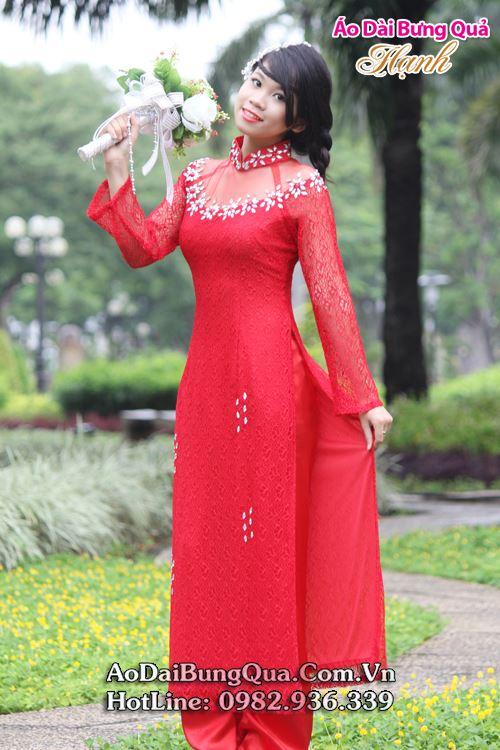 Áo dài cô dâu ren đỏ cách tân