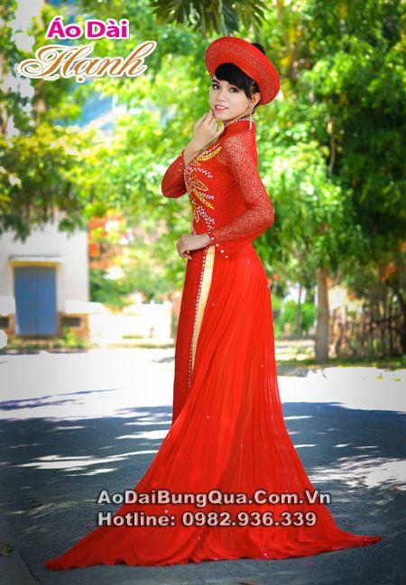 Áo dài cô dâu đuôi phụng