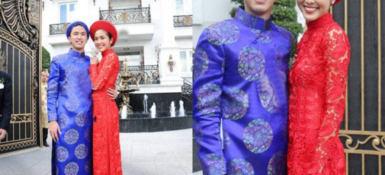 Áo dài cưới đỏ trong lễ đính hôn 05