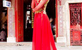 Áo dài cưới màu đỏ mẫu số 79