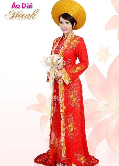 Áo dài cưới đỏ mẫu số 25