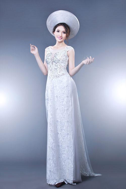 Áo dài cưới màu trắng 06