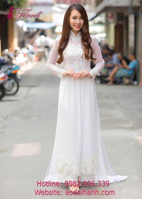 Áo dài cưới màu trắng mẫu 69