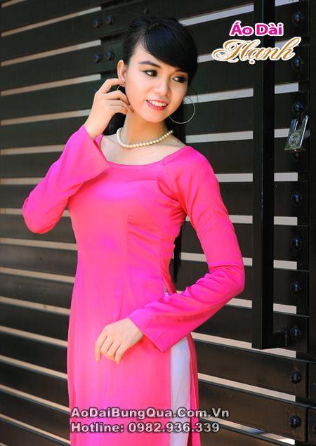 Áo dài hồng sen lụa tay dài