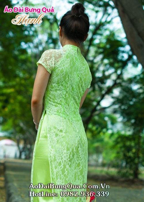 Áo dài xanh cốm ren hoa tay ngắn