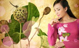 Áo dài cưới họa tiết hoa sen 11