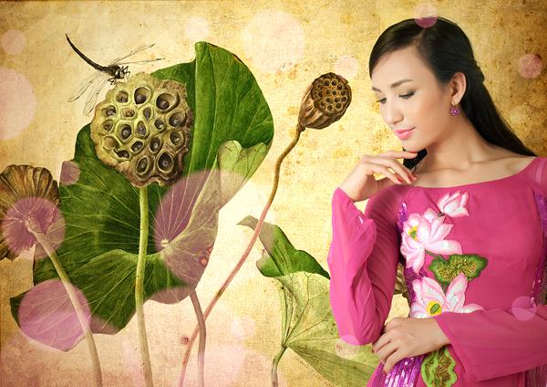 Áo dài cưới họa tiết hoa sen đẹp 11