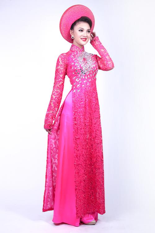 Áo dài cưới hồng trẻ trung 02