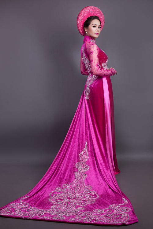 Áo dài cưới hồng trẻ trung 05