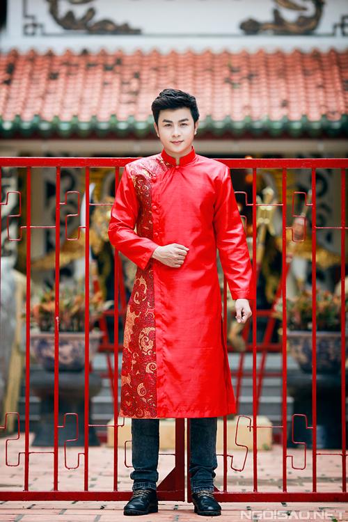 Áo dài đỏ cho chú rể 02