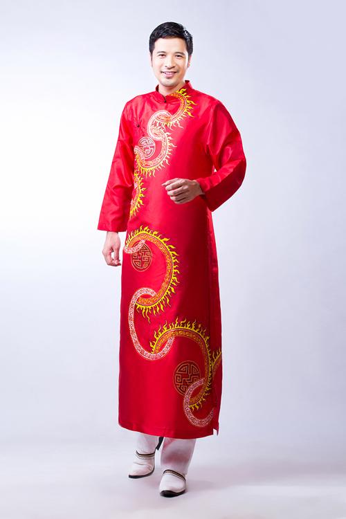 Áo dài đỏ cho chú rể 05