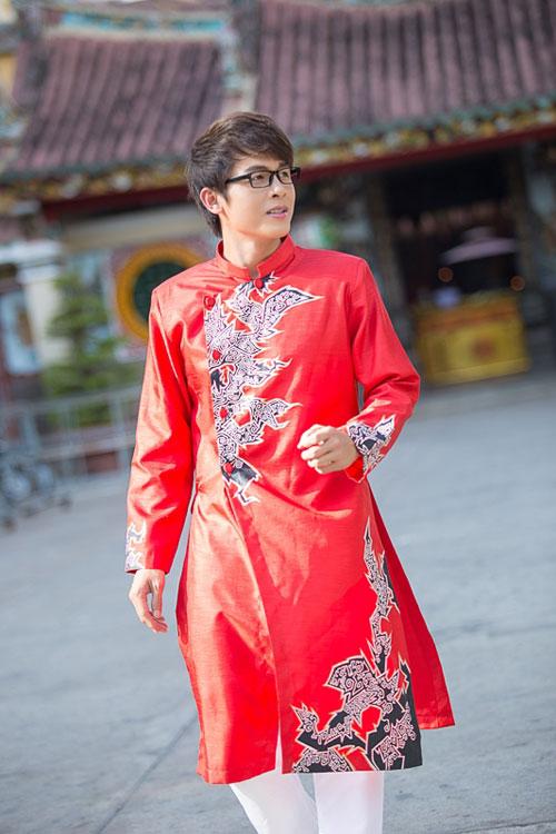 Áo dài đỏ cho chú rể 07