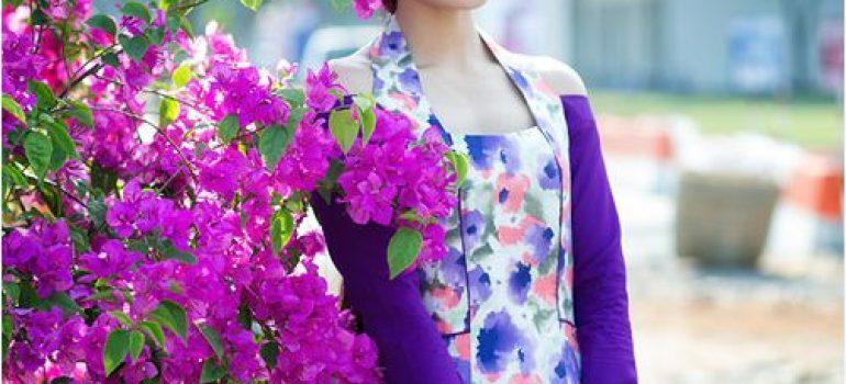 Áo dài hoa đi chơi tết 03