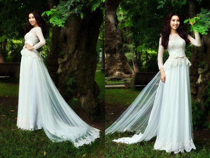 Áo dài trắng đẹp long lanh cho cô dâu 05