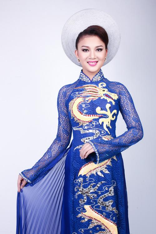 Áo dài xanh dương cho cô dâu 03