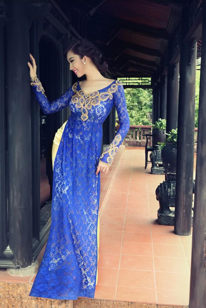 Áo dài xanh dương cho cô dâu 04