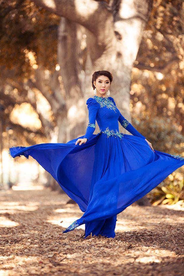 Áo dài xanh dương cho cô dâu 06
