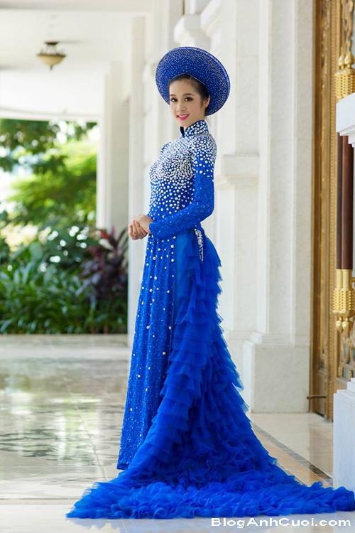 Áo dài xanh dương cho cô dâu 07