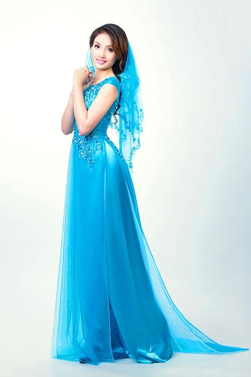 AÁo dài xanh dương cho cô dâu 08