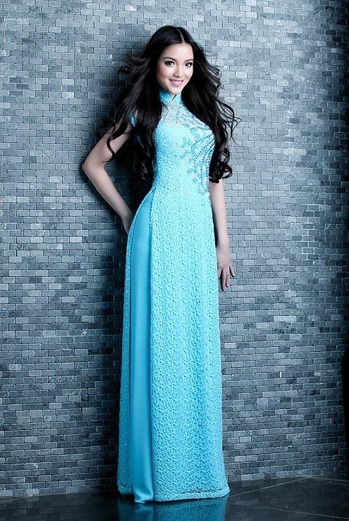 Áo dài xanh dương cho cô dâu 09