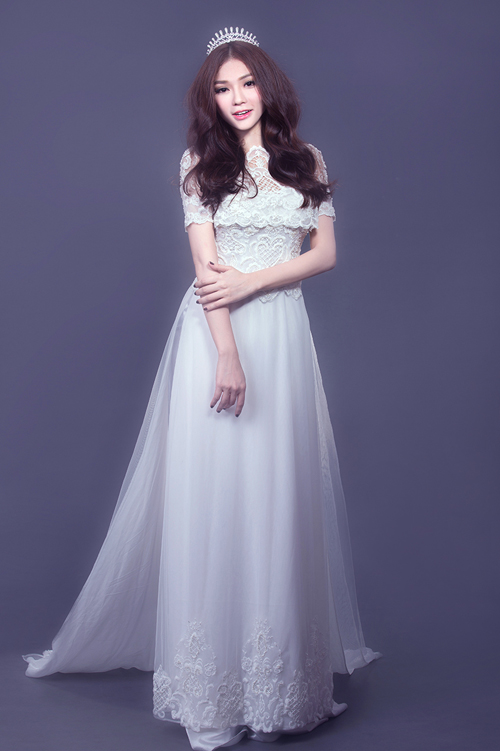 Kiểu tóc phù hợp với áo dài cưới 04
