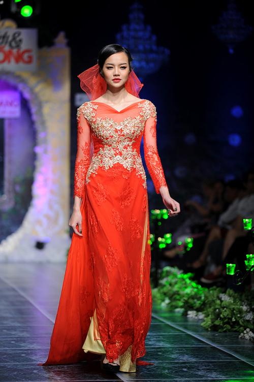 Mẫu áo dài cưới đỏ mới nhất 02