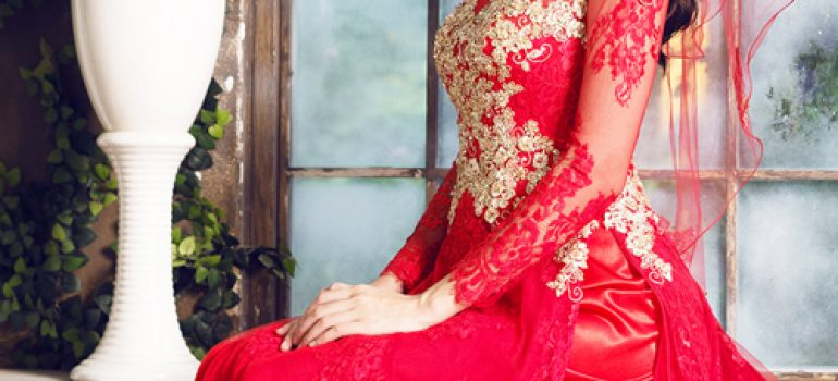 Mẫu áo dài cưới đỏ mới nhất 03