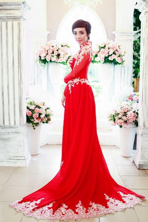 Mẫu áo dài cưới đỏ mới nhất 04