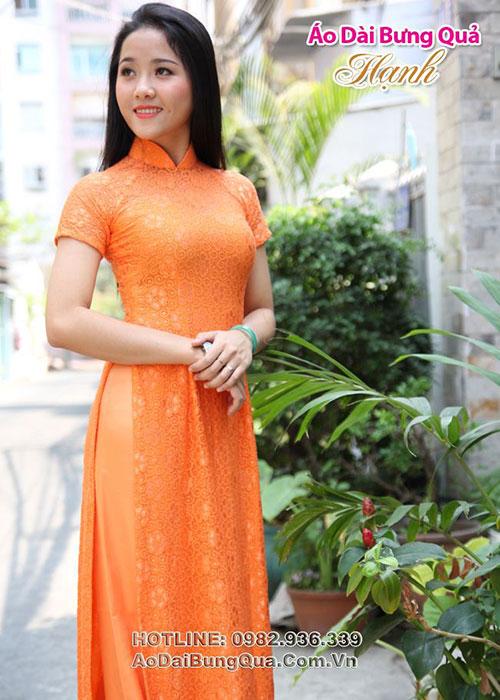 Áo dài cam ren hoa mai tay ngắn