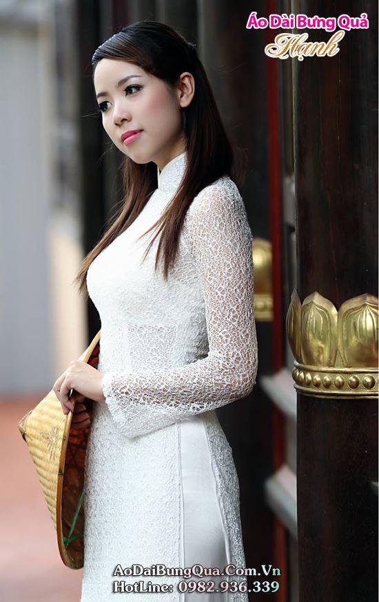 Áo dài cưới đẹp màu trắng