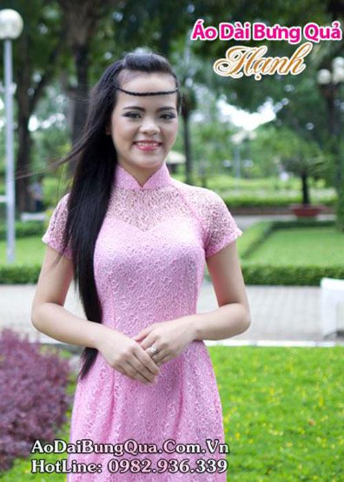 Áo dài hồng phấn ren lưới tay ngắn