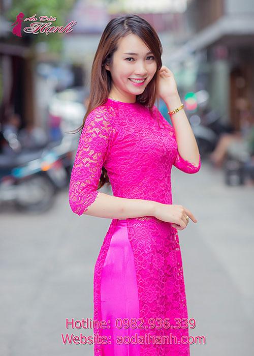 Áo dài hồng sen tay lỡ