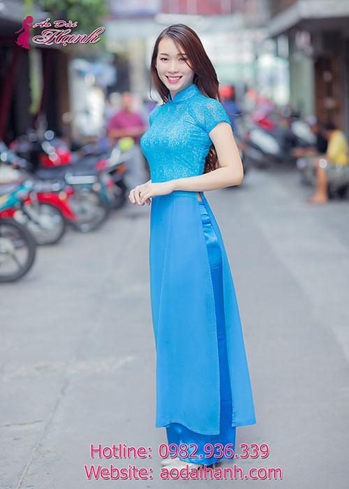 Áo dài xanh dương tay ngắn