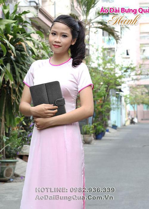 Áo dài hồng phấn lụa cổ tròn tn