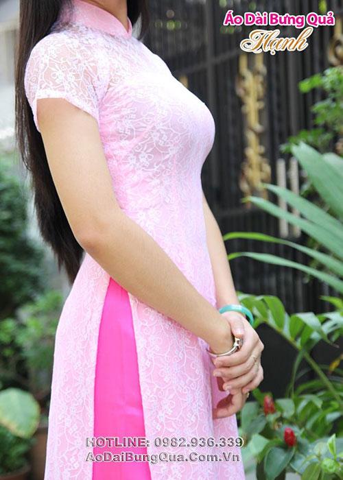 Áo dài hồng phấn ren hoa nhí tay ngắn