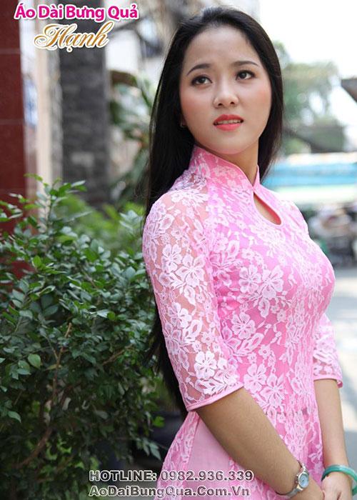 Áo dài hồng phấn ren hoa tay lỡ