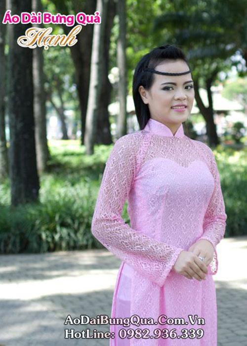 Áo dài hồng phấn ren lưới tay dài