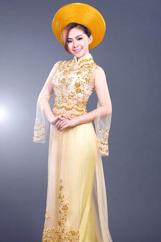 Áo dài cưới vàng ánh kim 01