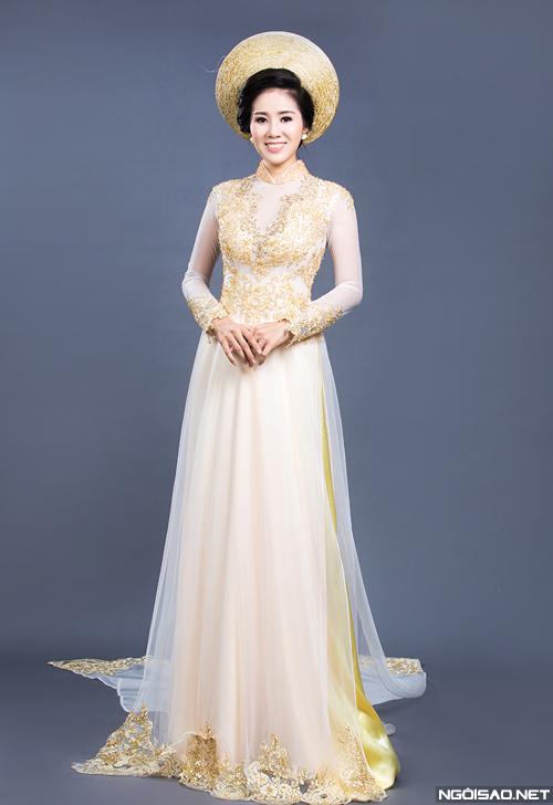 Áo dài cưới vàng ánh kim 05