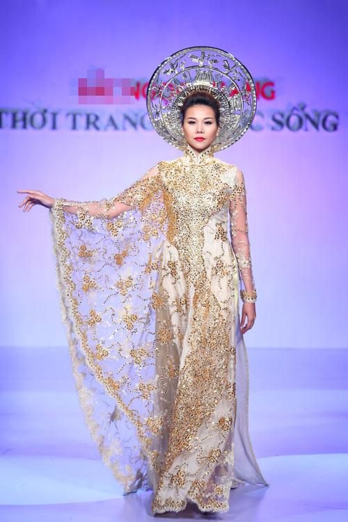 Áo dài cưới vàng ánh kim 09